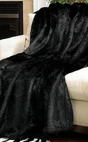 Pelted Black Mink - Luxaire Faux Fur Throw - Natural look and Luxuriously Soft - Oversize 58 X 83 Inches 6194