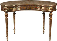 Luxe Life Louis XVI Style, Neo Classical - Hand Painted Kidney Shaped Writing Desk - Metallic Silver Nature Design 30.5t x 46w x 24d