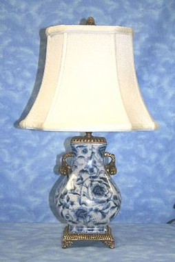Indigo Blue and White Pattern - Luxury Hand Painted Porcelain and Gilt Bronze Ormolu - 19 Inch Tabletop Lamp