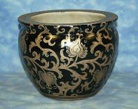 LCP B927 - Ebony Black and Gold Lotus Scroll Arabesque