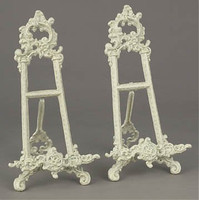 Louis XV Rococo Style Cast Iron, 13.5 Inch Pair Counter | Tabletop Easels, Antique White Finish