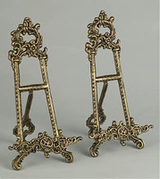 Louis XV Rococo Style Cast Iron, 13.5 Inch Pair Counter | Tabletop Easels, Antique Brass Finish
