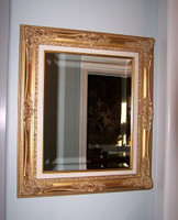 "Louis Quinze French Rococo, Louis XV 5.5"" Wide L429 Gold and Linen Frame, Large 40.5 X 34.5"" Drama Bevel Traditional Mirror"