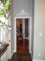 A Classic Elements 18w x 8t, Benjamin Moore Linen White Gloss, Acanthus, Rosette and Flourish Wall Plaque Over Door Pediment, Customizable