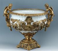 ***Lyvrich d'Elegance, Porcelain and Gilded Dior Ormolu | Versailles or et blanc | Fruit Compotier Dish | Gold & White Centerpiece Bowl | 19.50t X 23.25w X 11.74d | 6317