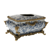 ***Lyvrich d'Elegance, Porcelain and Gilded Dior Ormolu | Crackle, Blue and White | Tissue Box Centerpiece | 6.11t X 10.84L X 7.17d | 6337