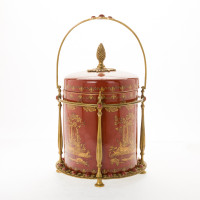 ***Lyvrich d'Elegance, Porcelain and Gilded Dior Ormolu | Glen Cove, Connoisseur Ice Bucket, Wine, Champagne Cooler | Red and Gold Jeweled Chinoiserie | 16.74t X 11.35w X 11.35d | 6405