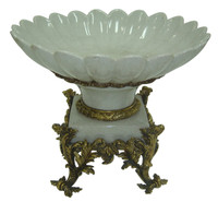 ***Lyvrich d'Elegance, Light Crackled Porcelain and Gilded Dior Ormolu | Fruit Bowl, Compotier Dish | Centerpiece | 12.45t X 15.75w X 15.75d | 6407