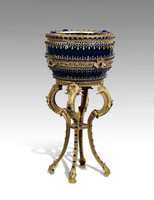 ***Lyvrich Objet d'Art | Extraordinary Handmade Flower Bowl, Planter | Cabochon and Bead Decoration, Gilded Dior Ormolu Trim, | 16.5 diameter X 31.29t | 6462