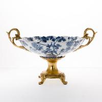 "***Lyvrich Objet d'Art | Handmade Compote, Statement Raised Bowl Centerpiece | Blue on Pale Blue Birdcage Theme, | Porcelain with Gilded Dior Ormolu Trim, | 10.13""t X 17.85""w X 12.92""d | 6482"