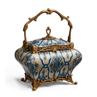"***Lyvrich Objet d'Art | Handmade Covered Box, Decorative Centerpiece | Blue and White Brocade, | Porcelain with Gilded Dior Ormolu Trim, | 11.25""t X 8.66""w X 5.90""d 