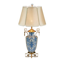 "***Lyvrich Objet d'Art | Handmade Tabletop Lamp, | Blue and White Brocade, | Porcelain with Gilded Dior Ormolu Trim, | 35.50""t X 18""w X 18""d 
