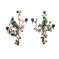 "***Lyvrich Objet d'Art | Handmade Candle Holder Set, Wall Bracket Sconce Pair | Parrots, Branches, Flowers, | Porcelain with Gilded Dior Ormolu Trim, | 18.50""t X 13.25""w X 7.08""d and 17.32""t X 14.50""w X 5.50""d 