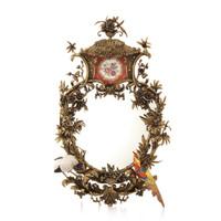 "***Lyvrich Objet d'Art | Fabulous Handmade Mirror | Heron, Birds, Branch, Polychrome Flower, | Gilded Dior Ormolu with Porcelain Trim, | 32.50""t X 20.50""w X 5.50""d | 6524"