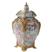 "***Lyvrich Objet d'Art | Handmade Covered Jar, Centerpiece Urn | Unspecified Pattern, | Porcelain with Gilded Dior Ormolu Trim, | 13.99""t X 8.67""w X 8.67""d | 6527"