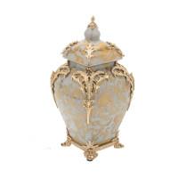 "***Lyvrich Objet d'Art | Handmade Covered Jar, Centerpiece Urn | Crackle Lotus Scroll Arabesque, | Porcelain with Gilded Dior Ormolu Trim, | 13.99""t X 8.67""w X 8.67""d | 6531"