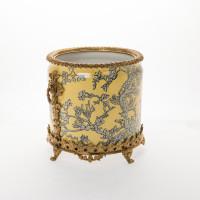 "***Lyvrich Objet d'Art | Handmade Flower Pot, Statement Planter Centerpiece | Abstract Chinoiserie, Gold & Silver, | Porcelain with Gilded Dior Ormolu Trim, | 10""t X 11""w X 11""d | 6532"