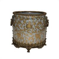 "***Lyvrich Objet d'Art | Handmade Flower Pot, Statement Planter Centerpiece | Crackle Lotus Scroll Arabesque, | Porcelain with Gilded Dior Ormolu Trim, | 10""t X 11""w X 11""d | 6533"