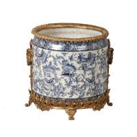 "***Lyvrich Objet d'Art | Handmade Flower Pot, Statement Planter Centerpiece | Blue and White Butterfly Pattern, | Porcelain with Gilded Dior Ormolu Trim, | 10""t X 11""w X 11""d | 6536"