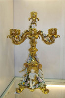 "***Lyvrich Objet d'Art | Handmade Candelabra | Hand Painted Raised Porcelain Flowers, | Gilded Porcelain with Hand Painted Trim, | 22.75""t X 17.70""w X 17.70""d 