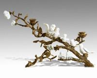 "Lyvrich Objet d'Art   Handmade 2 Light Candelabrum,   White Birds and Flowers, Table Centerpiece,   Doré Ormolu,   12""t X 18.30""L X 11.41""d   6541"