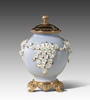 "***Lyvrich | Handmade Fine Porcelain Flowers, Ginger Jar, Centerpiece, | Porcelain with Gilded Dior Ormolu Trim, | 11.25""t X 7.75""w X 7.25""d | 6572"