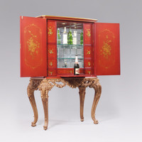 A Chinoiserie Chinese Style Carved - 67 Inch Handcrafted Reproduction Bar Cabinet - Chinese Red and Gilt Luxurie Furniture Finish