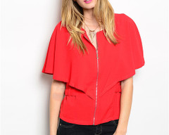 CRIMSON CAPELET BLOUSE