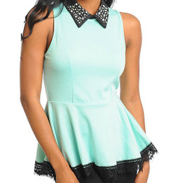 COOL MINT PEPLUM TOP