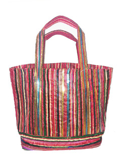 HAPPY STRIPE SEQUIN TOTE