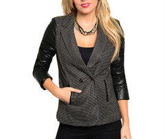 PINCHECK LEATHER SLEEVE BLAZER