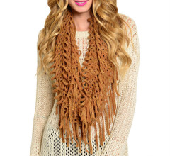 FRINGED LOOSE KNIT SCARF