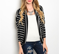 BLACK WHITE KNIT CARDIGAN
