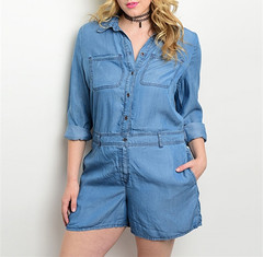 DENIM UTILITY ROMPER  (PLUS+)