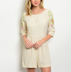 VANILLA CREAM EMBROIDERED ROMPER