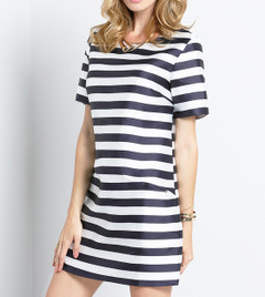 A SHIFT TO STRIPES DRESS