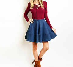 DARLING DENIM SKATER SKIRT