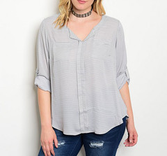 GRAY TODAY STRIPE BLOUSE (PLUS+)