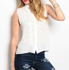 SIMPLE SLEEVELESS FLORAL BLOUSE - WHITE