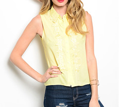 SIMPLE  SLEEVELESS FLORAL BLOUSE - BUTTER