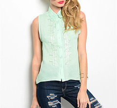 SIMPLE SLEEVELES FLORAL BLOUSE  - MINT
