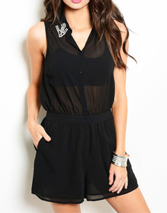 SEMI-SHEER BLACK ROMPER