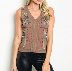 COCOA BROWN EMBROIDERED TOP