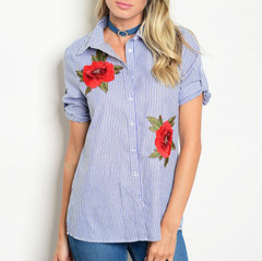 BLUE STRIPED FLORAL BLOUSE