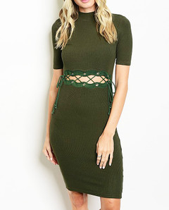 BODYCON LACEUP MIDRIFF DRESS