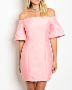 PERFECTLY PINK OFF SHOULDER DRESS