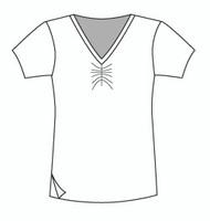Easy Fit Short Sleeve Shirred V Neck (1411S)