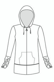 Shirred Sleeve Tunic Hooded Banded Bottom Jacket (950)