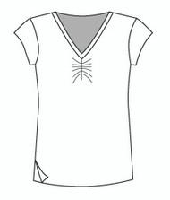 Easy Fit Cap Sleeve Shirred V Neck (1411C)
