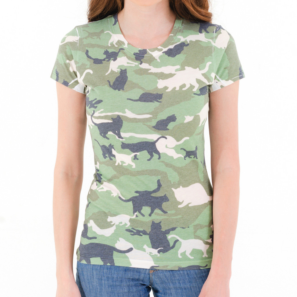 Cat Camouflage Women s T Shirt – Cat Camouflage T Shirt Funny Cat